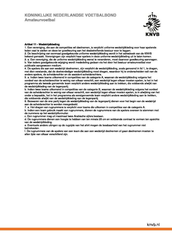 Spelregelswijzigingen KNVB